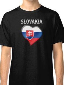 Slovakia - Slovakian Flag Heart & Text - Metallic Classic T-Shirt