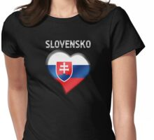 Slovensko - Slovakian Flag Heart & Text - Metallic Womens Fitted T-Shirt