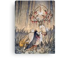 The Wish - Kitsune Fox Deer Yokai Canvas Print