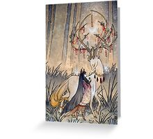 The Wish - Kitsune Fox Deer Yokai Greeting Card