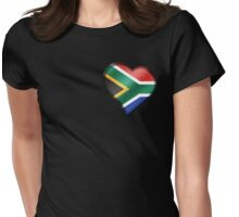South African Flag - South Africa - Heart Womens Fitted T-Shirt