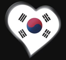 South Korean Flag - South Korea - Heart Kids Tee