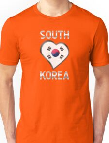 South Korea - South Korean Flag Heart & Text - Metallic Unisex T-Shirt