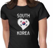 South Korea - South Korean Flag Heart & Text - Metallic Womens Fitted T-Shirt