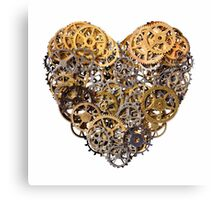 Heart shape made of metal pinions and sprockets Canvas Print