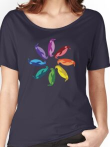 Color: Emperor Penguin Rainbow Pinwheel Women's Relaxed Fit T-Shirt
