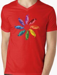 Color: Emperor Penguin Rainbow Pinwheel Mens V-Neck T-Shirt