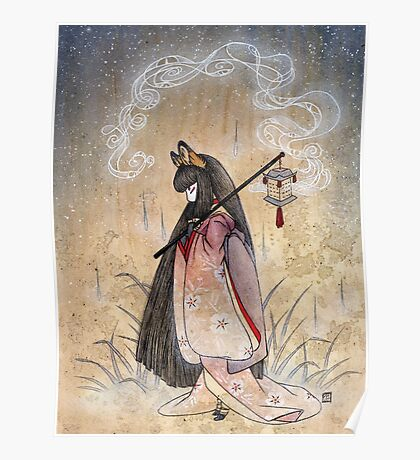 Bad Thoughts - Kitsune Fox Yokai  Poster
