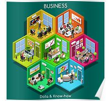 Business Cell Isometric Poster