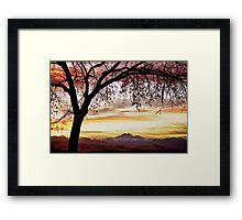 Colorful November Sunset Sky and Longs Peak Framed Print