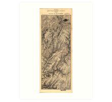 Civil War Map of Gregg & Stuart's Cavalry at the Battle of Gettysburg July 3 1863 Art Print