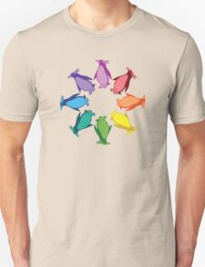 Color: Macaroni Penguin Rainbow Pinwheel Unisex T-Shirt