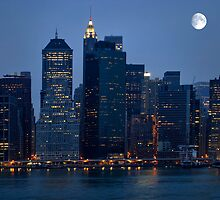 Moon Over NYC Skyline ~ New York City ~ USA by Sabine Jacobs