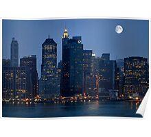 Moon Over NYC Skyline ~ New York City ~ USA Poster