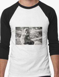 Female Silverback Gorilla Black and White Men's Baseball ¾ T-Shirt