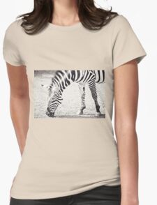 Black and White Zebra Womens Fitted T-Shirt