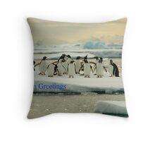 Seasons Greetings - Gentoo Penguins Antarctica Throw Pillow