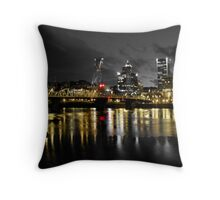 Moody Night In Downtown Portland Throw Pillow
