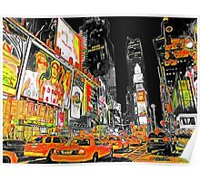 Times Square Taxis Poster