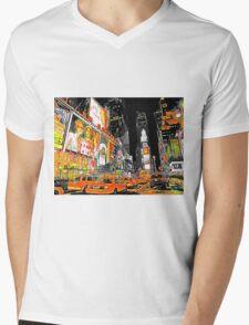 Times Square Taxis Mens V-Neck T-Shirt
