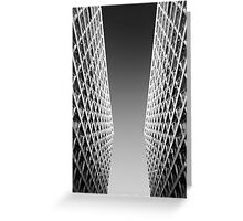 Joint Vision of Two Buildings In Black and White Greeting Card