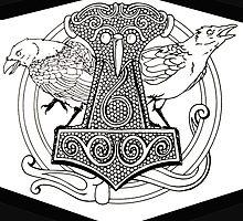 Huginn & Muninn & the Mjolnir by DarkHorseBailey
