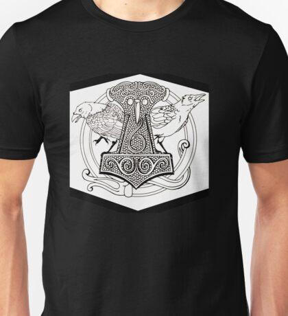 Huginn & Muninn & the Mjolnir Unisex T-Shirt