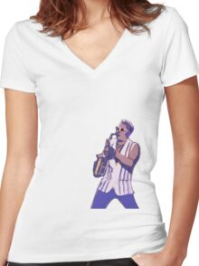 Epic Sax Guy Women's Fitted V-Neck T-Shirt