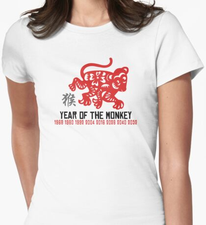Chinese Zodiac Monkey Year of The Monkey Until 2052 Womens Fitted T-Shirt