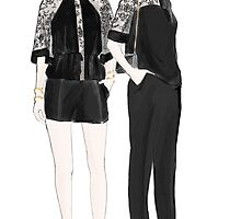 Fashion Illustration Black sheer and Opaque by Faye Jepson