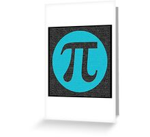 First 10,000 digits of Pi, blue on black. Greeting Card