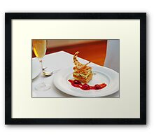 Dessert in restaurant Framed Print