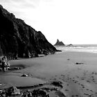 Broad Haven - monochrome by Sally J Hunter