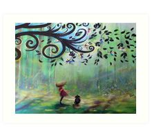 Wind Fairies, in the Woods Art Print