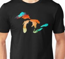 Michigan - Great Lakes in Fractal Colors Unisex T-Shirt