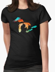Michigan - Great Lakes in Fractal Colors Womens Fitted T-Shirt