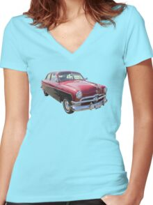 1950 Ford Custom Deluxe Classsic Car Women's Fitted V-Neck T-Shirt