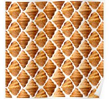 Background pattern made of croissants Poster