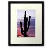Giant Saguaro Cactus Silhouette and Sunrise Sky Framed Print