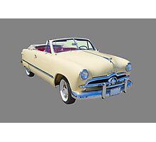 1949 Ford Custom Deluxe Convertible Antique Car Photographic Print