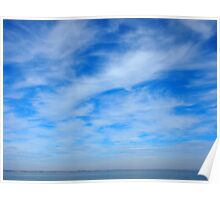 Panorama of the sky over the lake of white cirrus clouds Poster
