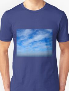 Panorama of the sky over the lake of white cirrus clouds T-Shirt