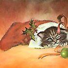 Christmas Kitty by ellenspaintings