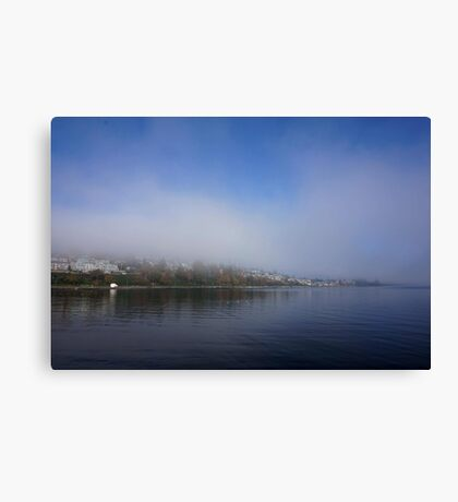 Coastal Town in the Clouds Canvas Print