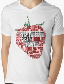 The Beatles - Strawberry Fields Forever Wordcloud Mens V-Neck T-Shirt