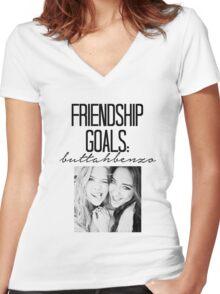 Friendship Goals; ButtahBenzo Women's Fitted V-Neck T-Shirt