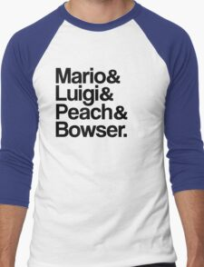Mario & Luigi & Peach & Bowser - Black Men's Baseball ¾ T-Shirt