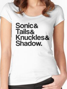 Sonic & Tails & Knuckles & Shadow - Black Women's Fitted Scoop T-Shirt
