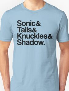 Sonic & Tails & Knuckles & Shadow - Black T-Shirt