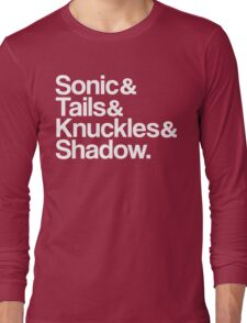 Sonic & Tails & Knuckles & Shadow - White Long Sleeve T-Shirt